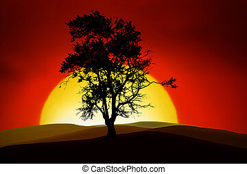 Romantic Tree - silhouettes of an romantic tree in the...