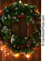Symbol of Christmas - Christmas wreath with firtree cones...