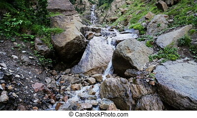 waterfall in mountains - waterfall in Pyrenees mountains...