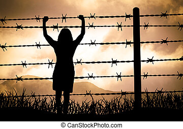 Barbed wire - people are captured behind barbed wire