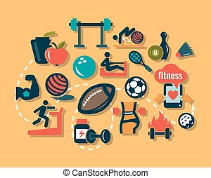 flat fitness icons - Fitness and Sport vector icons for web...