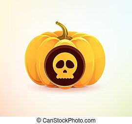 Halloween pumpkin with a carved skull