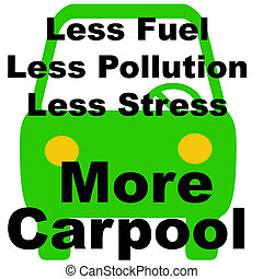 less is more carpool - green vehicle on white background...