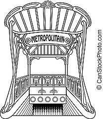 Metropolitain - Old black and white outlined subway station....
