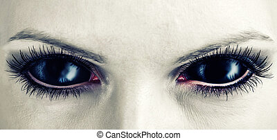 Evil black female zombie eyes - Evil black female alien,...