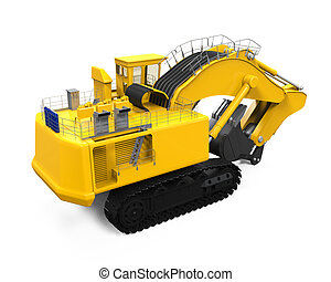 Yellow Excavator Isolated on white background. 3D render