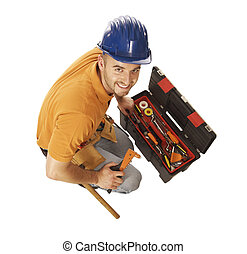 handyman and toolbox isolated on white - young caucasian...