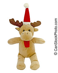 Santa deer - Plush reindeer with Santa hat isolated with a...