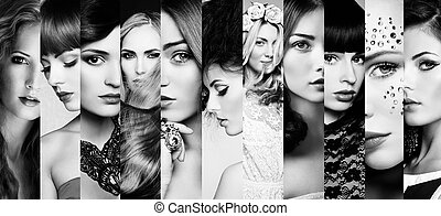 Beauty collage Faces of women Fashion photo Black and white...