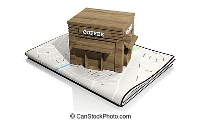 Paper map with 3D wooden cafe building isolated on white