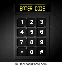 "Security black numeric pad with ""Enter code"" screen"
