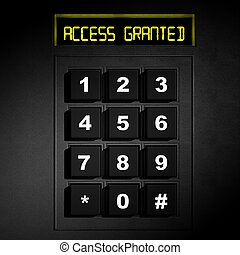 "Security black numeric dial with ""Access Granted"" screen"