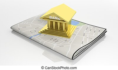 Paper map with 3D gold bank symbol isolated on white