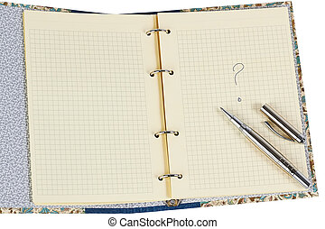 open copybook with question