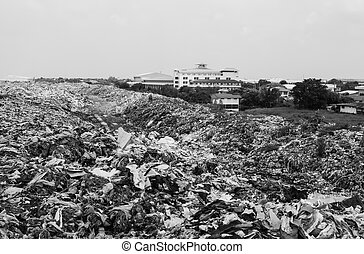 Pile of domestic garbage in landfill  , monochromatic