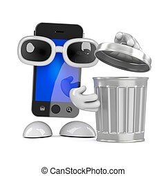 3d Smartphone with a rubbish bin - 3d render of a smartphone...