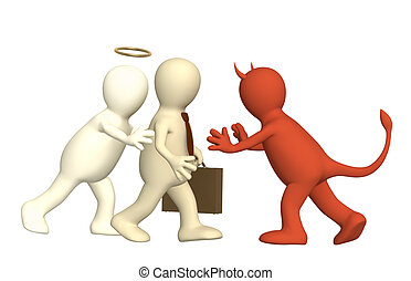 Conflict - Conceptual image - an opposition of angel and...