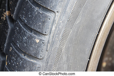 Automobile Tire Ready to Blow Up