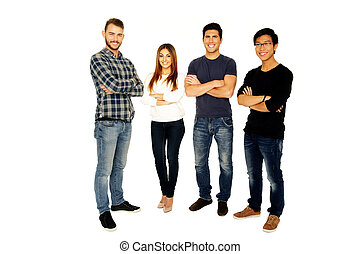 Full length portrait of a smiling friends in casual cloth...