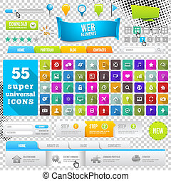 Set of Flat Design Icons, Elements, Widgets and Menus....