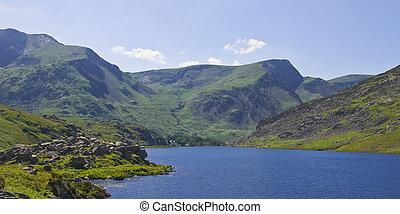 Llyn Ogwen, Snowdonia, North Wales. According to legend, it...