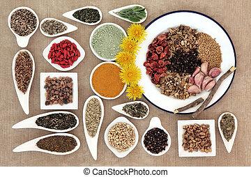 Liver Detox Superfood - Liver detox food selection in white...