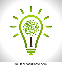 Modern infographic template. Light bulb with Green tree icon...