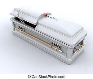 Burial Casket - 3D render of an ornate coffin