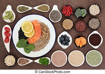 Health Food - Large health food selection in bowls over...