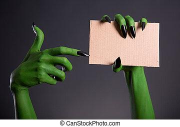 C, monstro, apontar, pregos, mão, pretas, em branco, verde,...