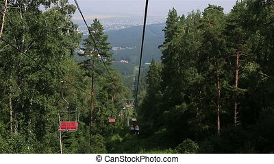Ski chairlift on Mount Tserkovka in Belokurikha.
