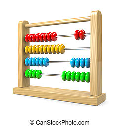 Abacus - Colorful Wooden Abacus Illustration on White...