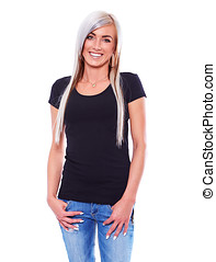 Young woman in black t-shirt