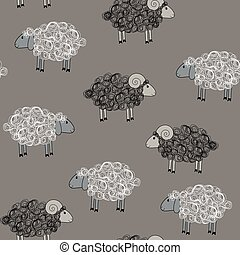 Vector seamless pattern with sheeps - Vector seamless...