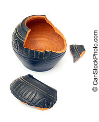 Broken pottery - Old broken vase isolated on a white...