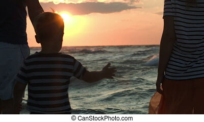 Family looking at sunset holding hands