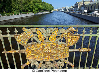 decorative fence Panteleymonovsky Bridge, Fontanka River, St...