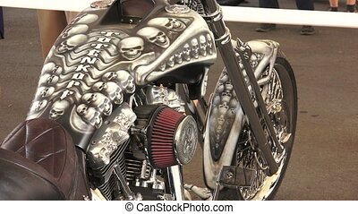 Skeleton on Harley Davidson bike. Shot in 4K (ultra-high...