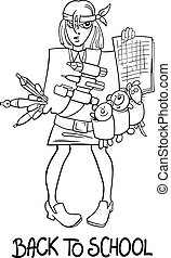 back to school cartoon coloring page