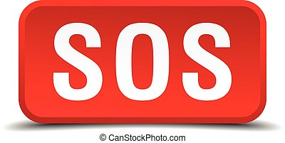 Sos red 3d square button isolated on white