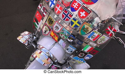 Wind shield with labels in different countries Shot in 4K...