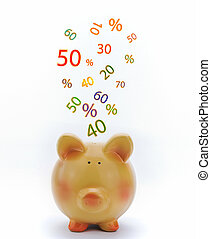 Piggy bank with sale icons isolated