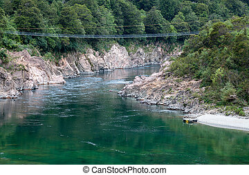 NZ longest swingbridge over the Buller Gorge in New Zealand