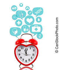 Heart alarm clock with medical icons in talk bubbles...