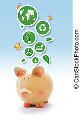 Eco piggy bank with green environmental stickers