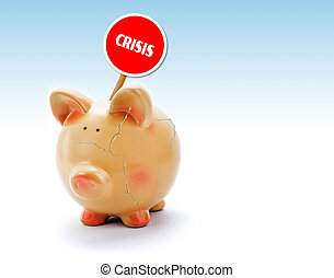 "Broken piggy bank with cracks and ""Crisis"" tag"