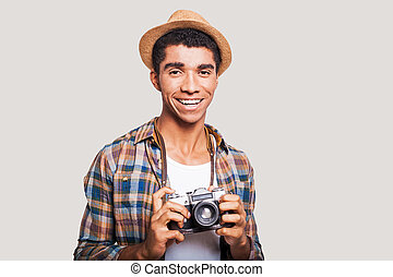 Getting the best photos Handsome young Afro-American hipster...