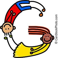 Letter G Kids - Cartoon stick kid drawing of the alphabet...