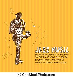 Jazz music Color hand drawn graphic illustration