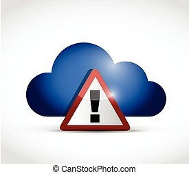 cloud computing warning illustration design over a white...